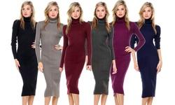 Extra Stretch Turtleneck Ribbed Sweater Midi Dress: Tan-XLarge 1321669