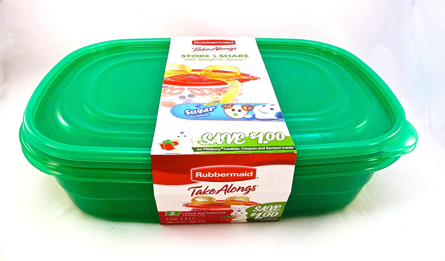 Rubbermaid TakeAlong Food Storage Container Green Set of 2