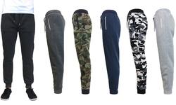 Galaxy By Harvic Men's Slim Fit Fleece Jogger Pants - Zipper Charcoal -Med 1328024
