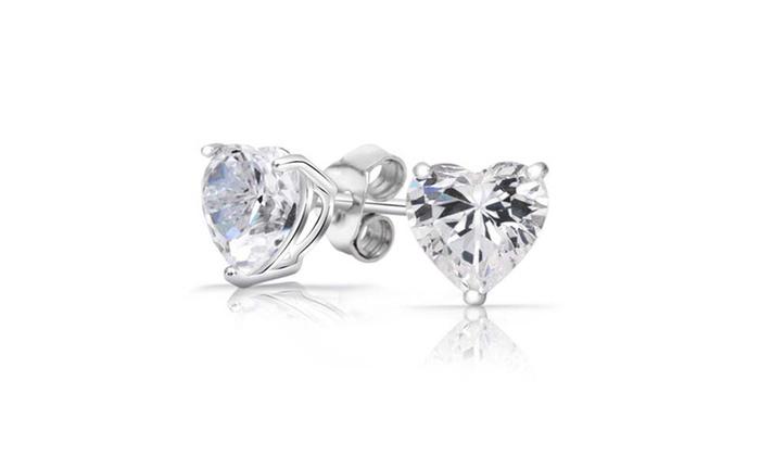 Yeidid Women S Swarovski Elements Sterling Silver Heart Stud Earrings