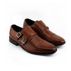 S3 Holding Xray Men's Double Monk Strap Shoes - Tan - Size: 10
