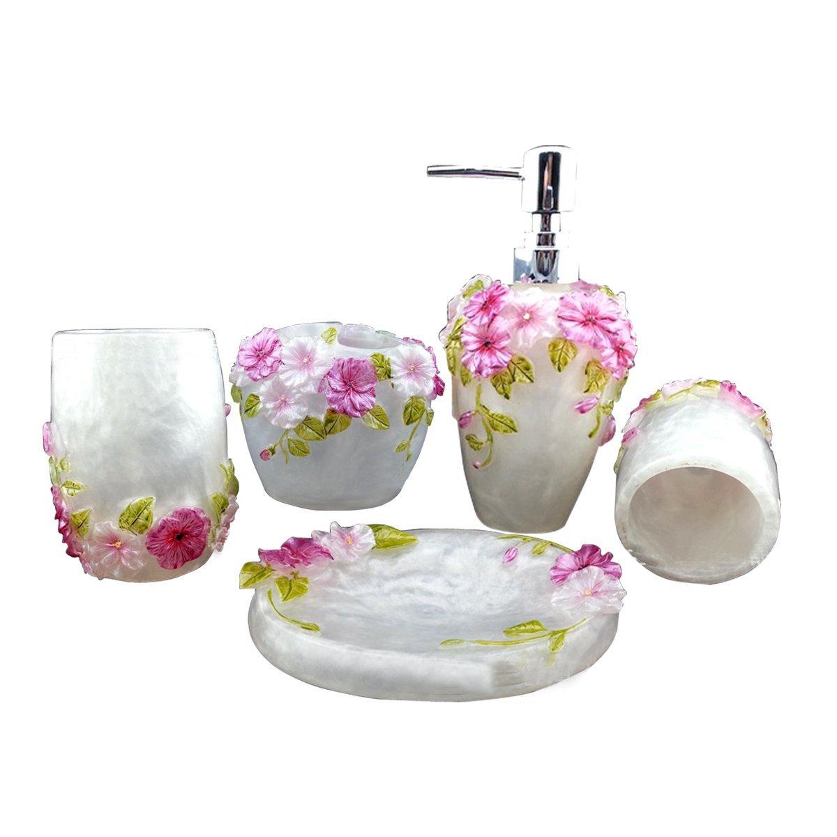 HQdeal 5PC Set Acrylic Bathroom Accessories Bathroom Set - White ...