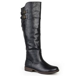 Journee Collection Women's Double-Buckle Knee-High Boots -