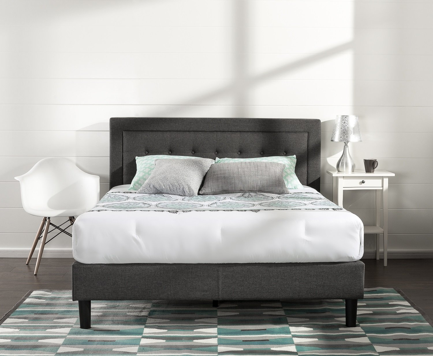 ... Zinus Upholstered Button Tufted Platform Bed W/ Wooden Slat Support   Queen ...