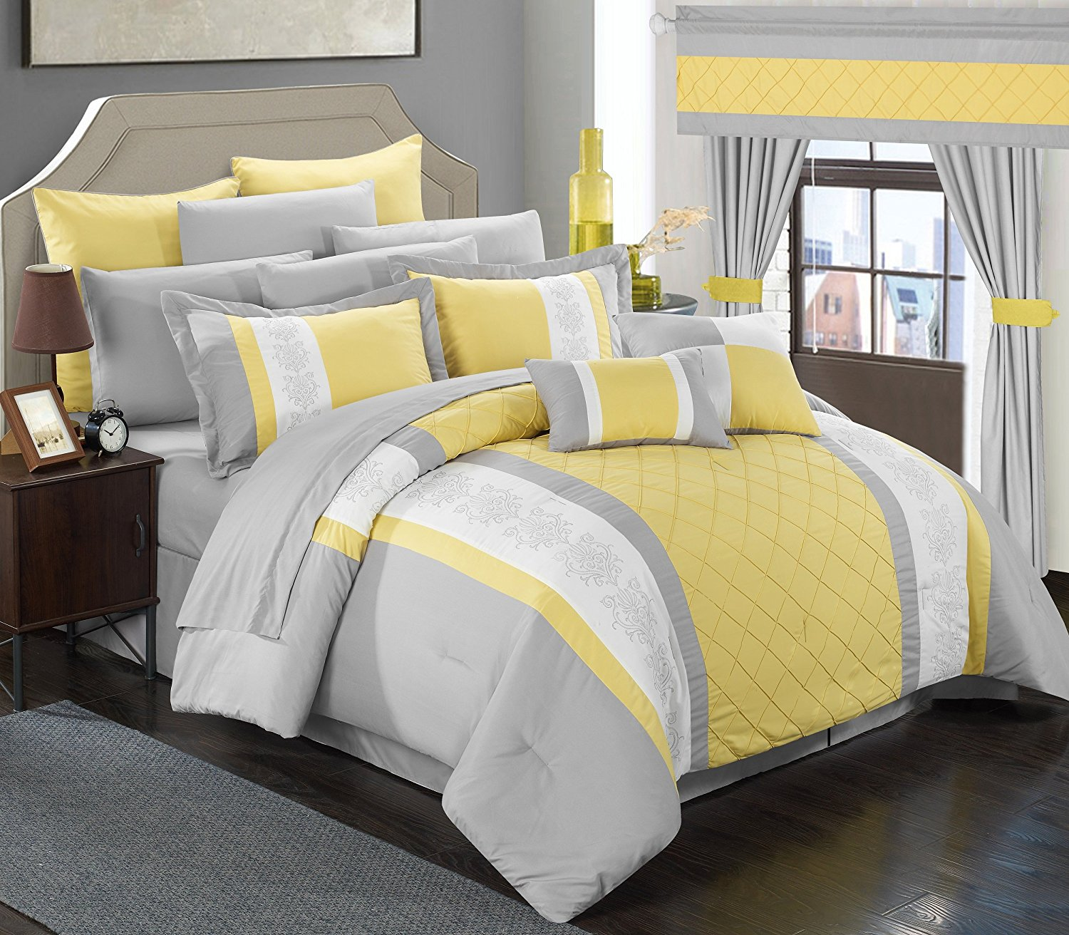 Chic Home Bedding Sheets Bed In Bag Comforter Set Yellow Size Queen Check Back Soon Blinq