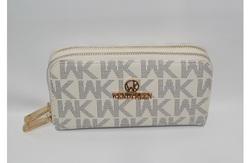 WK Collection Women's Double-Zippered Wallet - White 1347233