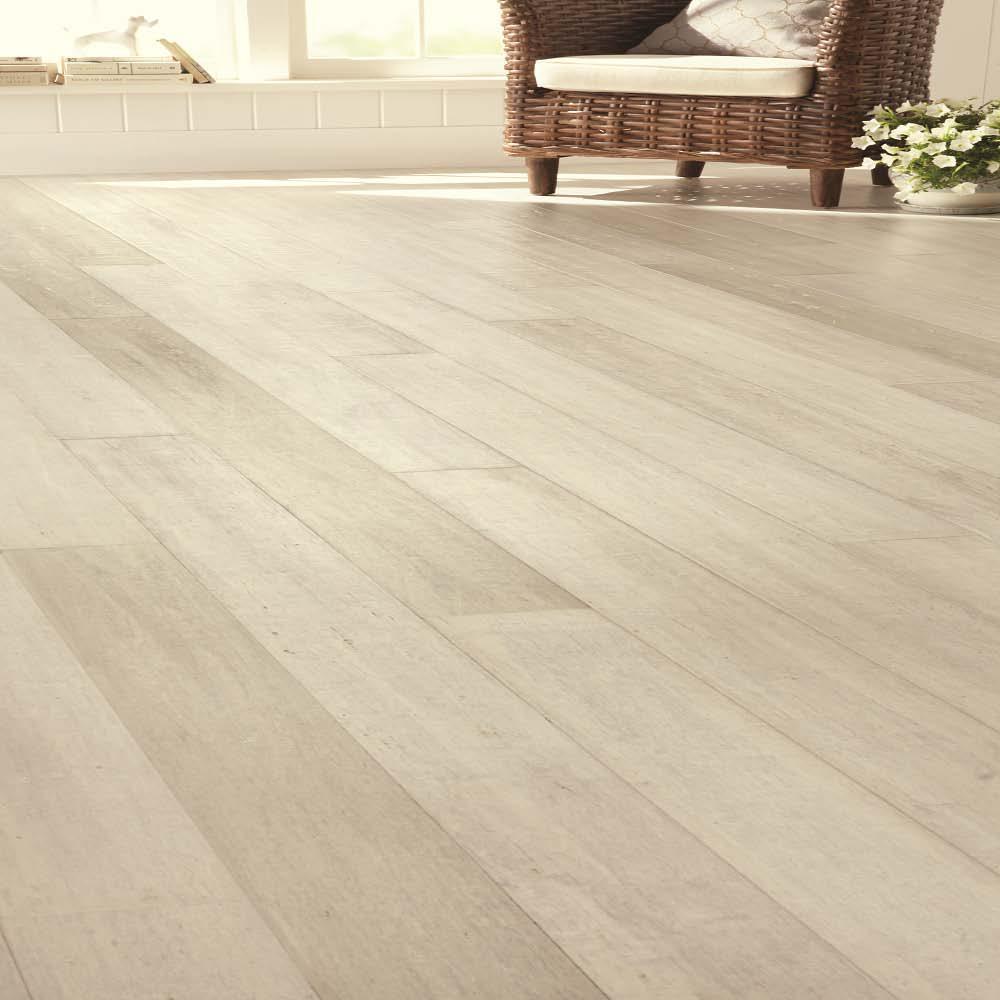 Handscraped Wirebrushed Strand Woven Bamboo Flooring - White (HD16124C) -  Check Back Soon