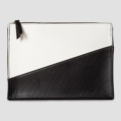Women's Color Block Zip Clutch - Black/White - Master Pack Qty 6