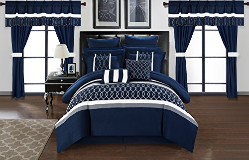 ... Chic Home Dinah 24 Piece Bed In A Bag Comforter Set   Navy   Size: ...