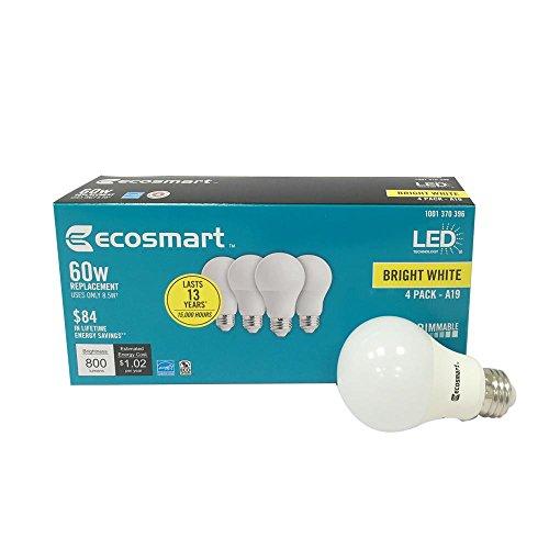 Ecosmart 4 Pc 60w Equivalent Bright White Led Light Bulb