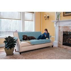 Home Fashion Designs Quilted Reversible Sofa Protector- Blue/Taupe