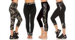 Missy & Plus Size Camo Activewear Leggings: Side Capris 7113-Green/Small 1368267