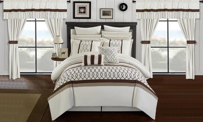 Bedroom In A Bag | Chic Home Topaz Bedroom In A Bag Comforter Set 24pc Beige Size