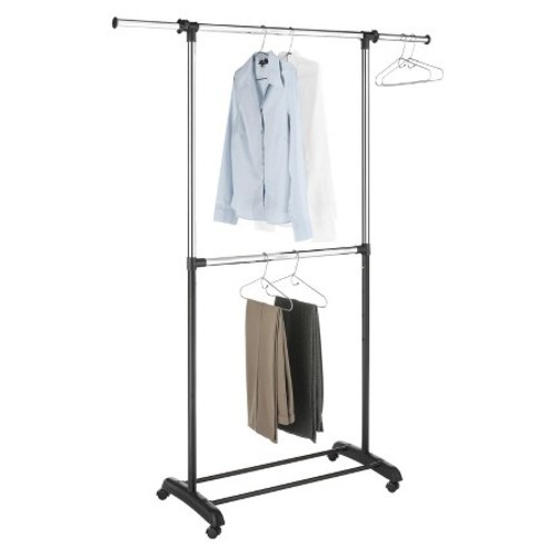 Room Essentials 2 Tiered Adjustable Height Garment Rack   Silver