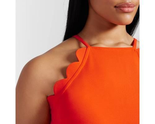 7bb06b6a7c0d ... 3X Victoria Beckham Women s Scallop Tie Waist Romper - Orange - Size   ...