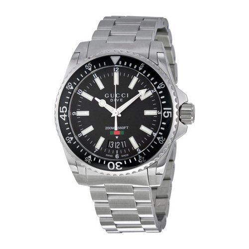 d8ad33c142b Gucci Men s Dive Dial Stainless Steel Watch - Silver Black (YA136301) -  Check Back Soon - BLINQ