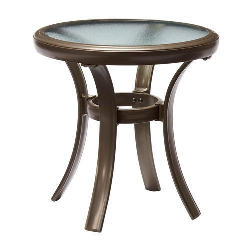 Hampton Bay Brown Round Aluminum Outdoor Patio Side Table