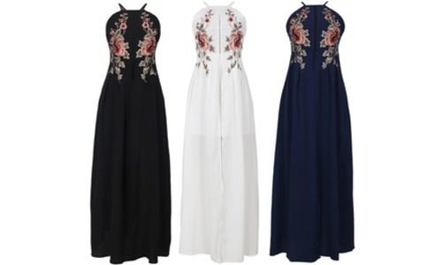 Pretty bash floral applique halter dress white size: large