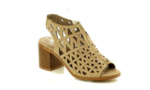 5c8eb10bda6 Mata Women s Low Stacked Heel Open Toe Sandals - Taupe - Size 8.5 ...