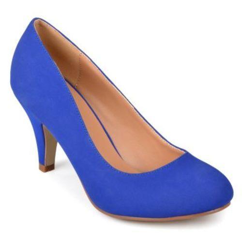 Wide Width Round Toe Pumps - Blue