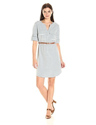 994396141c3 Sharagano Women s Roll-Tab Belted Shirtdress - Blue - Size 4 - Check ...