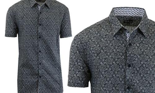 Harvic Mens Short Sleeve Modern Dress Shirt Black Swirl Size