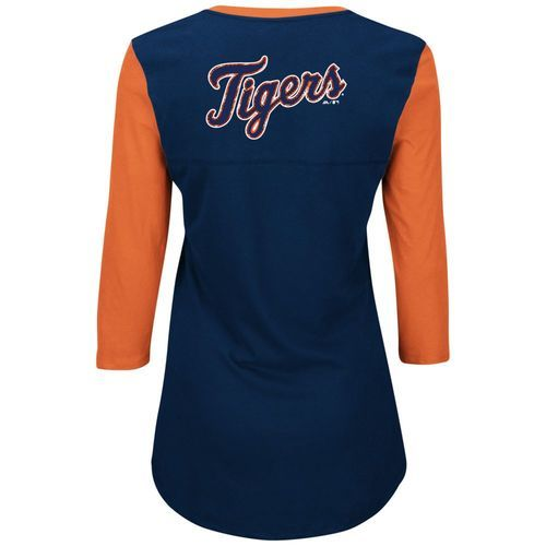 online store 59f8e c8453 MLB Women's Plus Size Majestic Detroit Tigers Tee - Navy/Orange - Size:3X