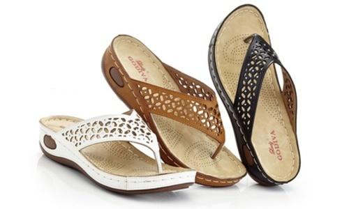 298829444 ... Lady Godiva Women s Comfort Wedge Thong Sandals - White - Size 7.5 ...