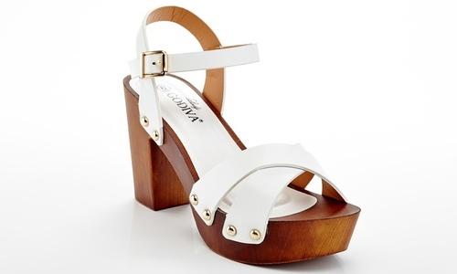 Lady Godiva Womens Wooden Heel T Strap Platform Sandal White Size65