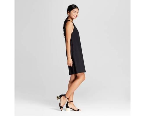 7125078ed7a98 Merona Women's Lace Yoke Knit Swing Dress - Ebony - Size: L - Check ...