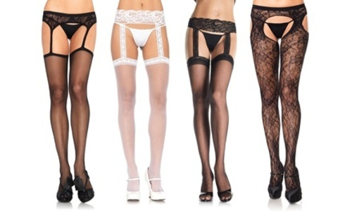 29f03734ee7 ... Leg Avenue Womens Industrial Fishnet Stockings with Attached Garter  Belt ...