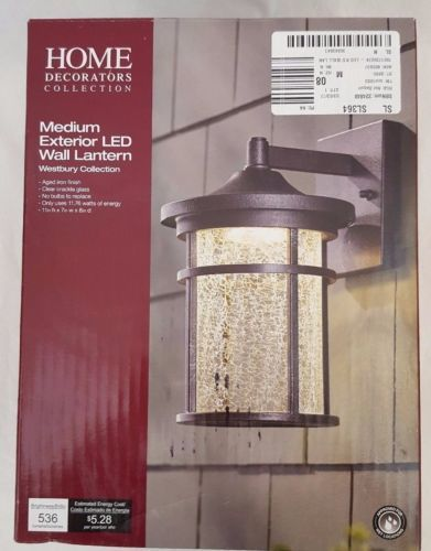 Home Decorators Outdoor Led Wall Lantern With Crackle Glass Aged Iron Check Back Soon Blinq