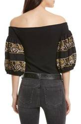 Free People Women's Rock with It Embroidered Top - Black - Size: S 1455610