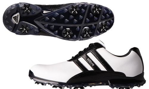 super popular 25b57 11b5c ... Adidas Adipure Mens Classic Leather Golf Shoes - WhiteBlack ...