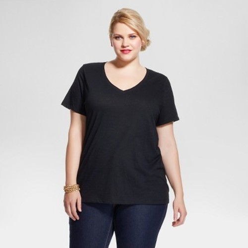 5303212afa4 Women s Plus Size Short Sleeve T-Shirt - Ava   Viv - Black 3X ...