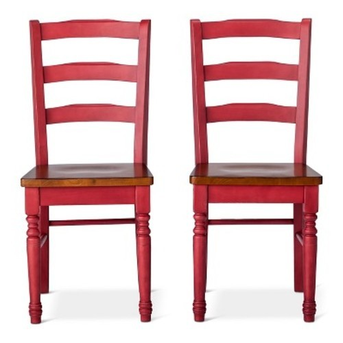 Mulberry Two Tone Distressed Dining Chairs - Red (Set of 2) - Check Back  Soon