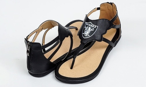 318e3fc8e Cuce Shoes Women s NFL Oakland Raiders Gladiator Sandals - Black ...