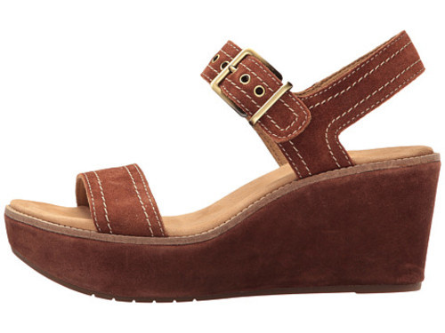 fca3db311b63 ... Clarks Women s Aisley Orchid Wedge Suede Sandals - Dark Tan - Size 5 ...
