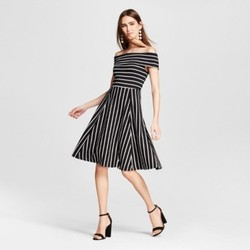 Women's Knit Off the Shoulder Dress - Mossimo  Black/White Stripe L 1516225