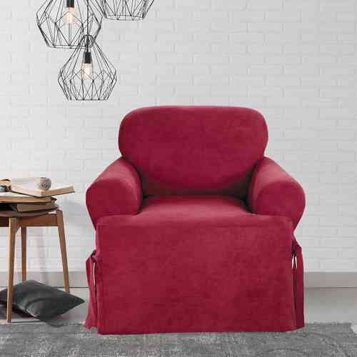 Sure Fit Smooth Suede T Cushion Chair Slipcover Burgundy T Cushion Chair Check Back Soon
