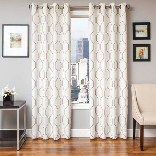 "Softline Maxwell Lined Grommet Curtain Panel - White/Silver - Size:54""x84"" - Check Back Soon - BLINQ"