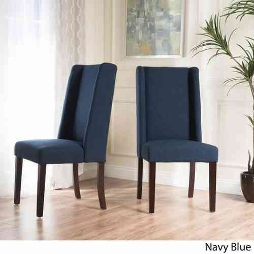 ... Christopher Knight Rory Wing Back Fabric Dining Chair 2 Set   Navy Blue  ...