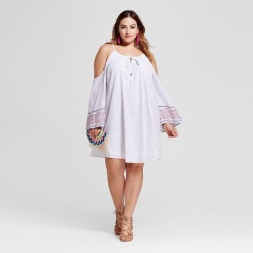Women\'s Plus Size Cold Shoulder Peasant Dress - Ava & Viv White 1X ...