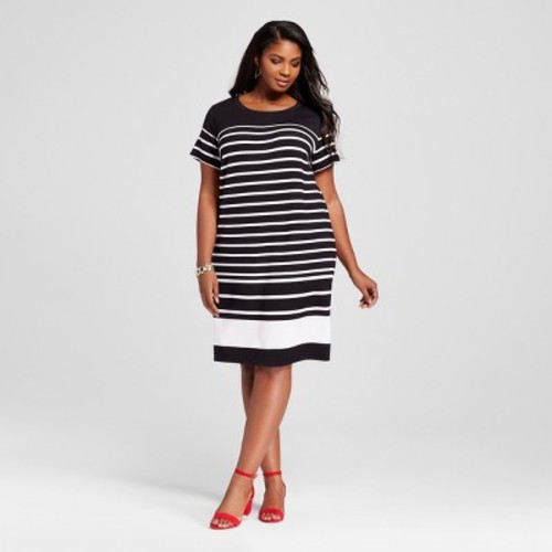 ea442038993 Women s Plus Size Striped T-Shirt Dress - Ava   Viv Black White Stripe