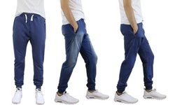 Men's French Terry Jogger Pants: Stone Wash Denim/XL 1538740