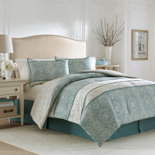 Laura Ashley Comforter Set Blue Green Off White Size King
