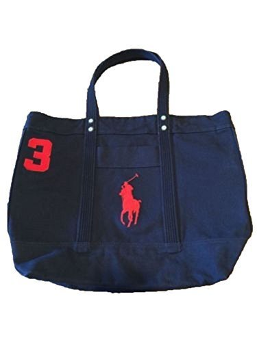 fb1315101862 Polo Ralph Lauren Cotton Canvas Big Pony Zip Tote Bag (Aviator Navy ...