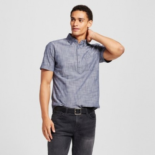 Men 39 S Short Sleeve Poplin Button Down Popover Shirt Blue