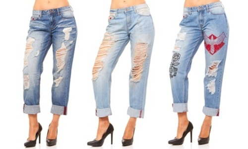 8434169cb75c6 ... Red Jeans Women s Destroyed Ripped Boyfriend Jeans - Light Blue - Size 4  ...