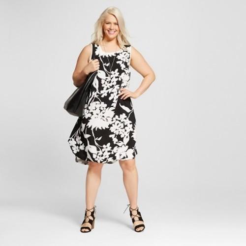 a8748957b154 ... Ava & Viv Women's Plus Size Floral Printed Tank Dress -Black/White ...